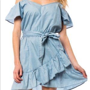 NWT Love Tree denim ruffle dress size M